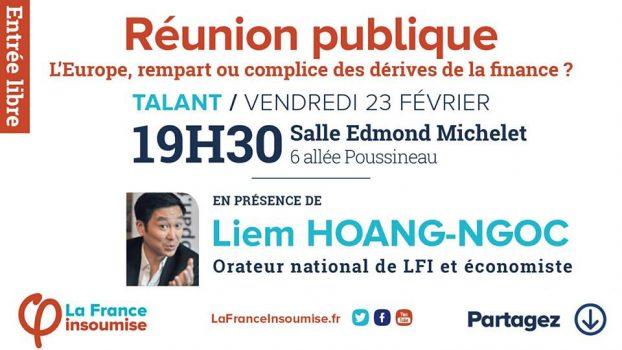 """Vidéo """"L'Europe,rempart ou complice des dérives de la finance?"""" avec Liem Hoang Ngoc et Jeanne Chevalier le 23/02/2018 à Talant"""